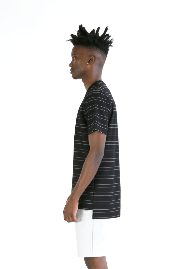 Tech Thin-Striped Boxy Tee - Black