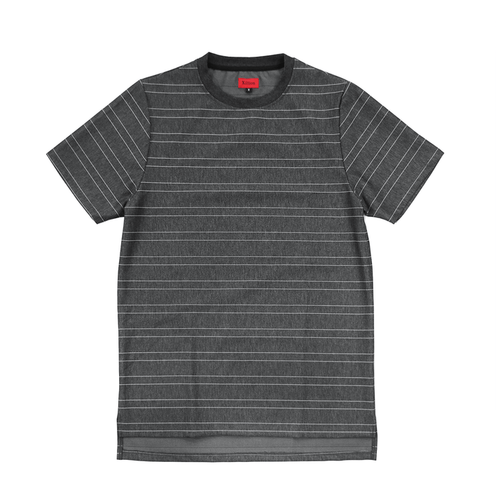 Tech Thin-Striped Boxy Tee - Charcoal