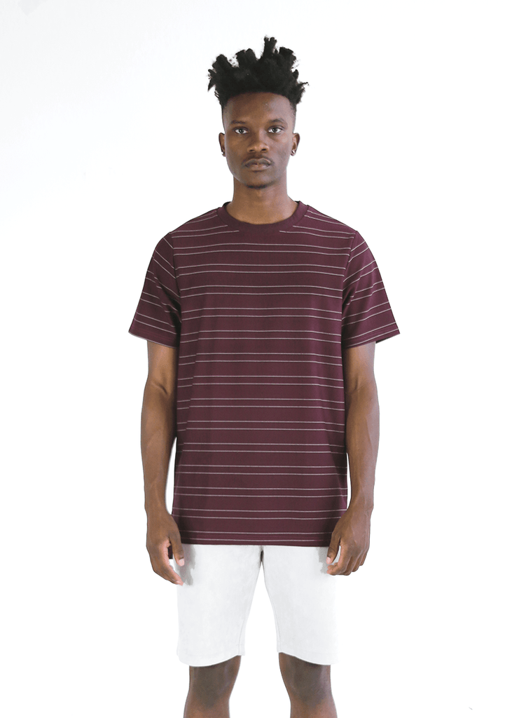Tech Thin-Striped Boxy Tee - Wine