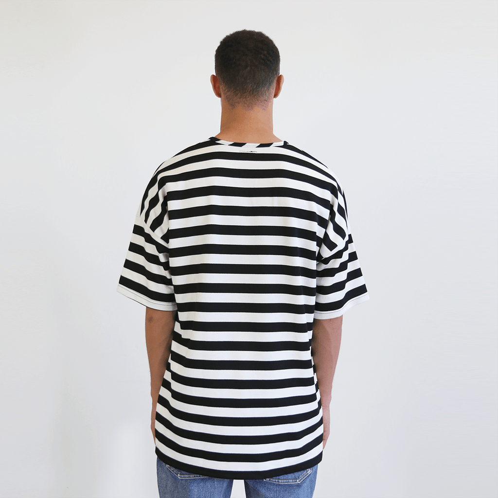 Drop Shoulder Striped Tee - Black/White