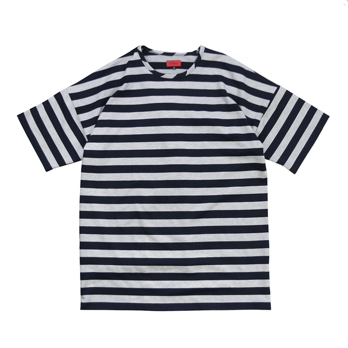 Drop Shoulder Striped T - Navy/Grey