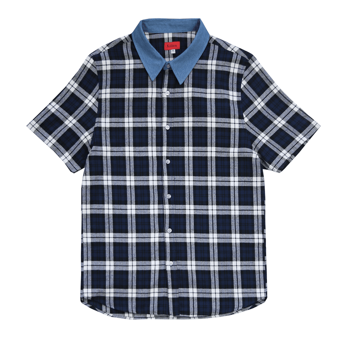 S/S Denim Collar Flannel Shirt - Blue