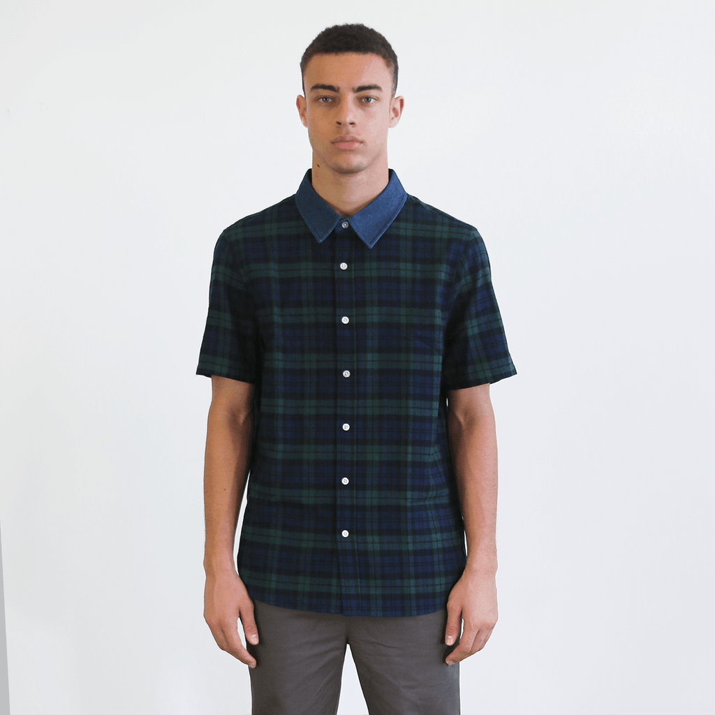 S/S Denim Collar Flannel Shirt - Green
