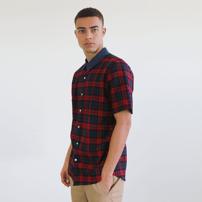 S/S Denim Collar Flannel Shirt - Red