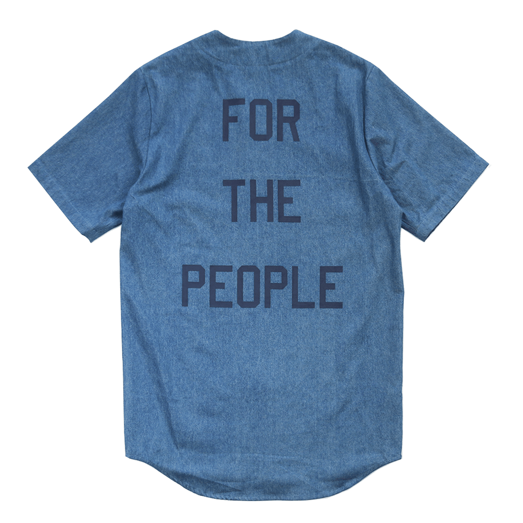 FTP Denim Baseball Jersey - Medium Blue