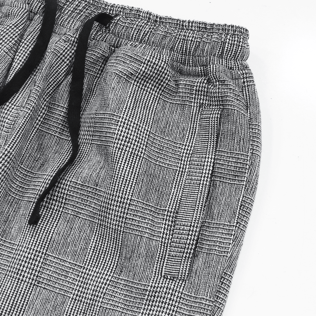 Check Woven Cropped Trouser - Grey