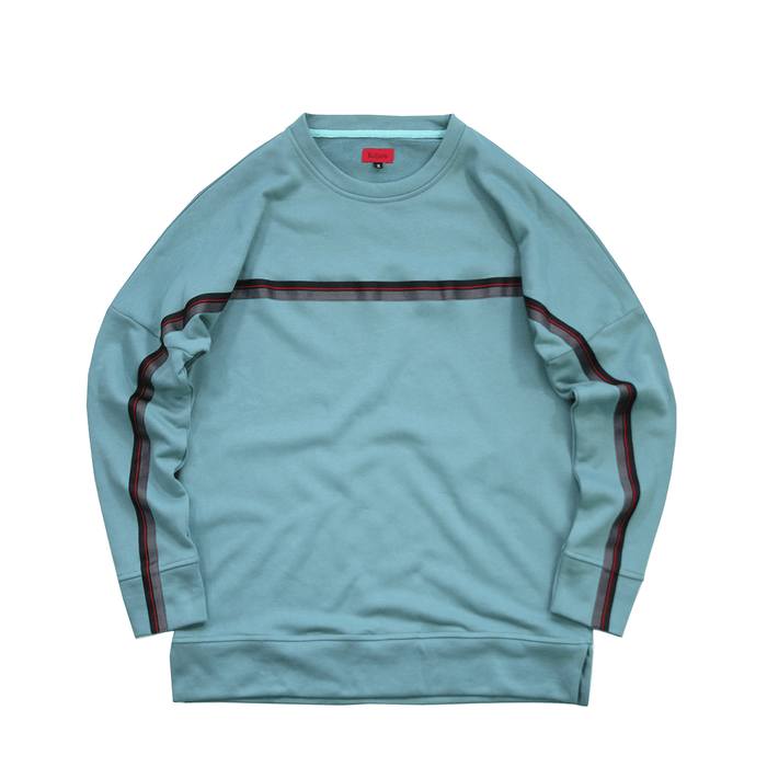 Racer Dropped Shoulder Crewneck - Seafoam Green