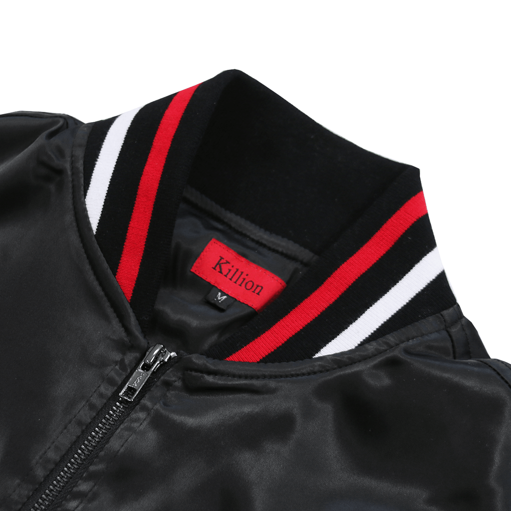 Striped Satin Varsity Jacket - Black