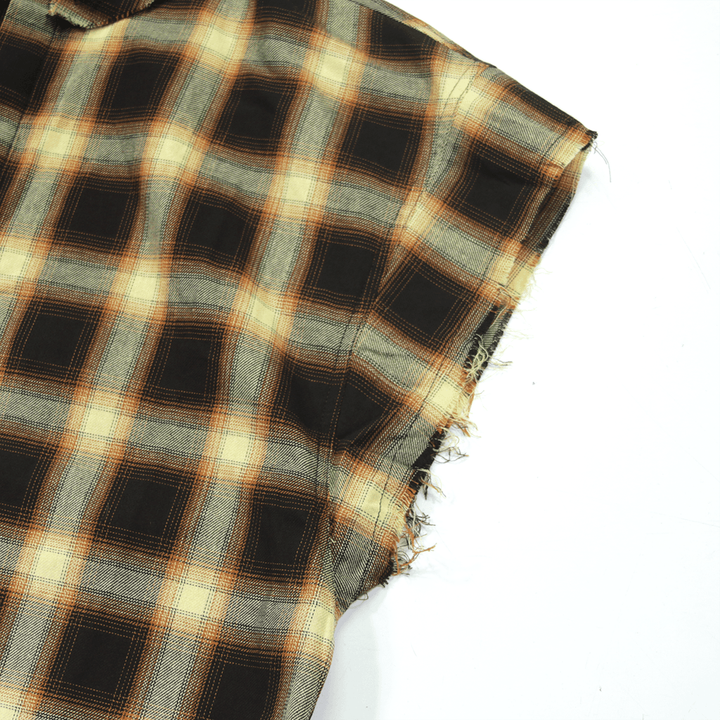 Cut Off Flannel Button Up - Brown