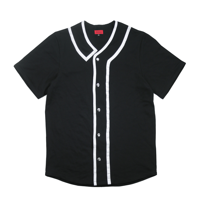 Taped Terry Baseball Top - Black