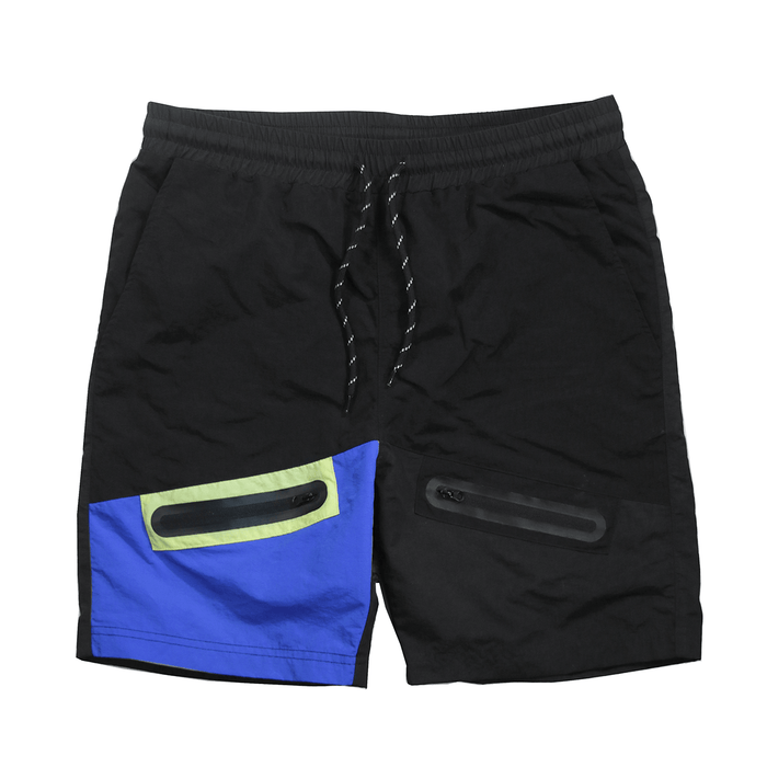 Dual Front Pocket Nylon Shorts - Black