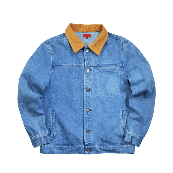 Maxon Corduroy Collar Denim Jacket - Medium Blue