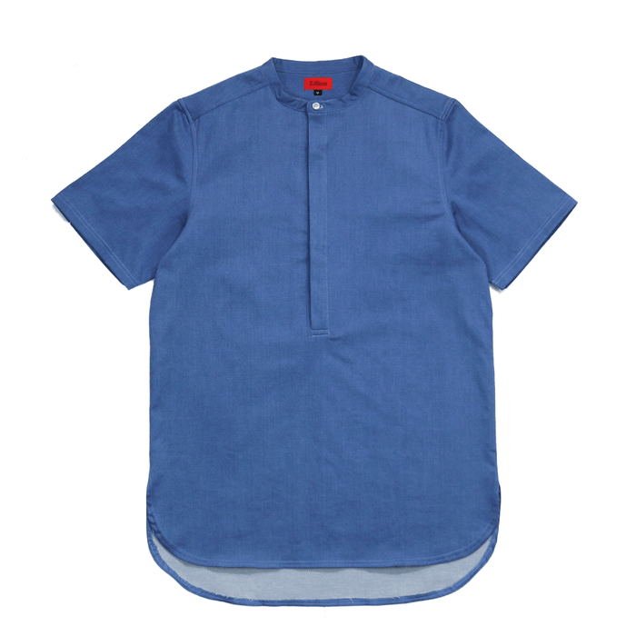Denim Half-Placket Grandad Top