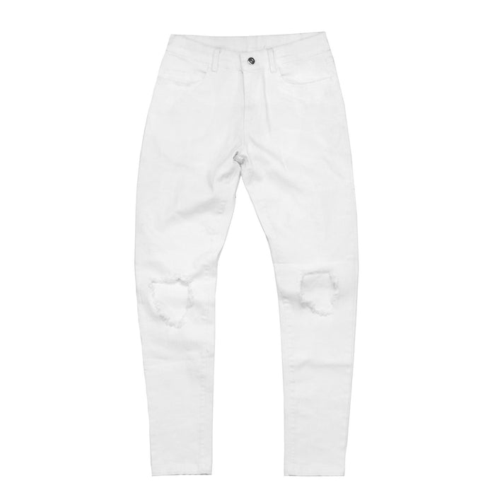 Destroyed Knee Rip Denim Jeans - White