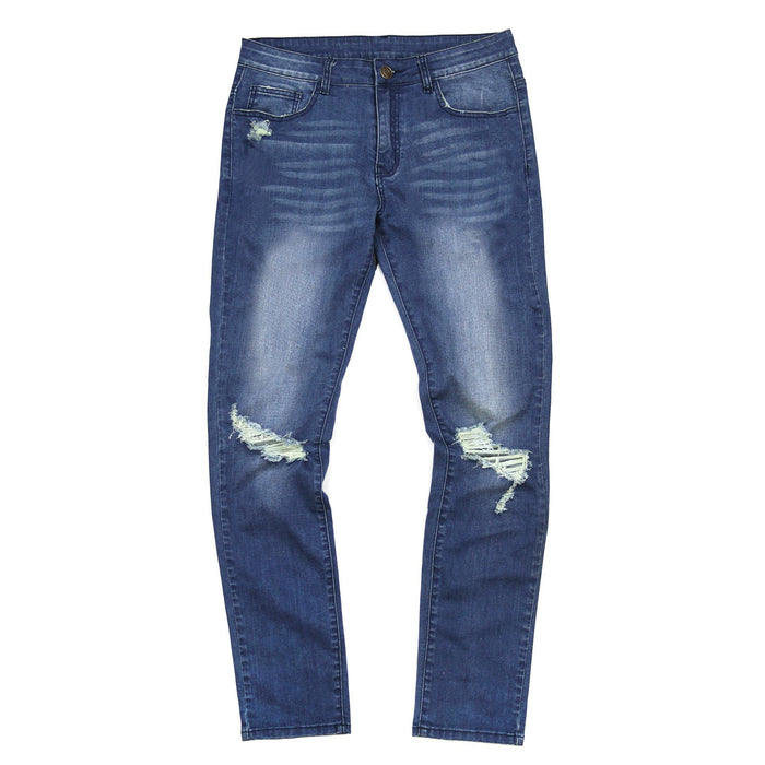 Dark Indigo Distressed Stonewashed Denim Jeans