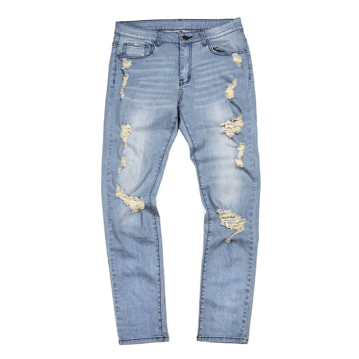 Distressed Stonewashed Denim Jeans