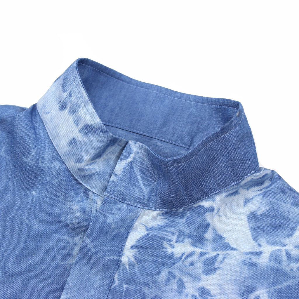Acid Wash Popover Mandarin Shirt