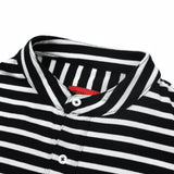 Striped Knit Grandad Collar Polo Shirt