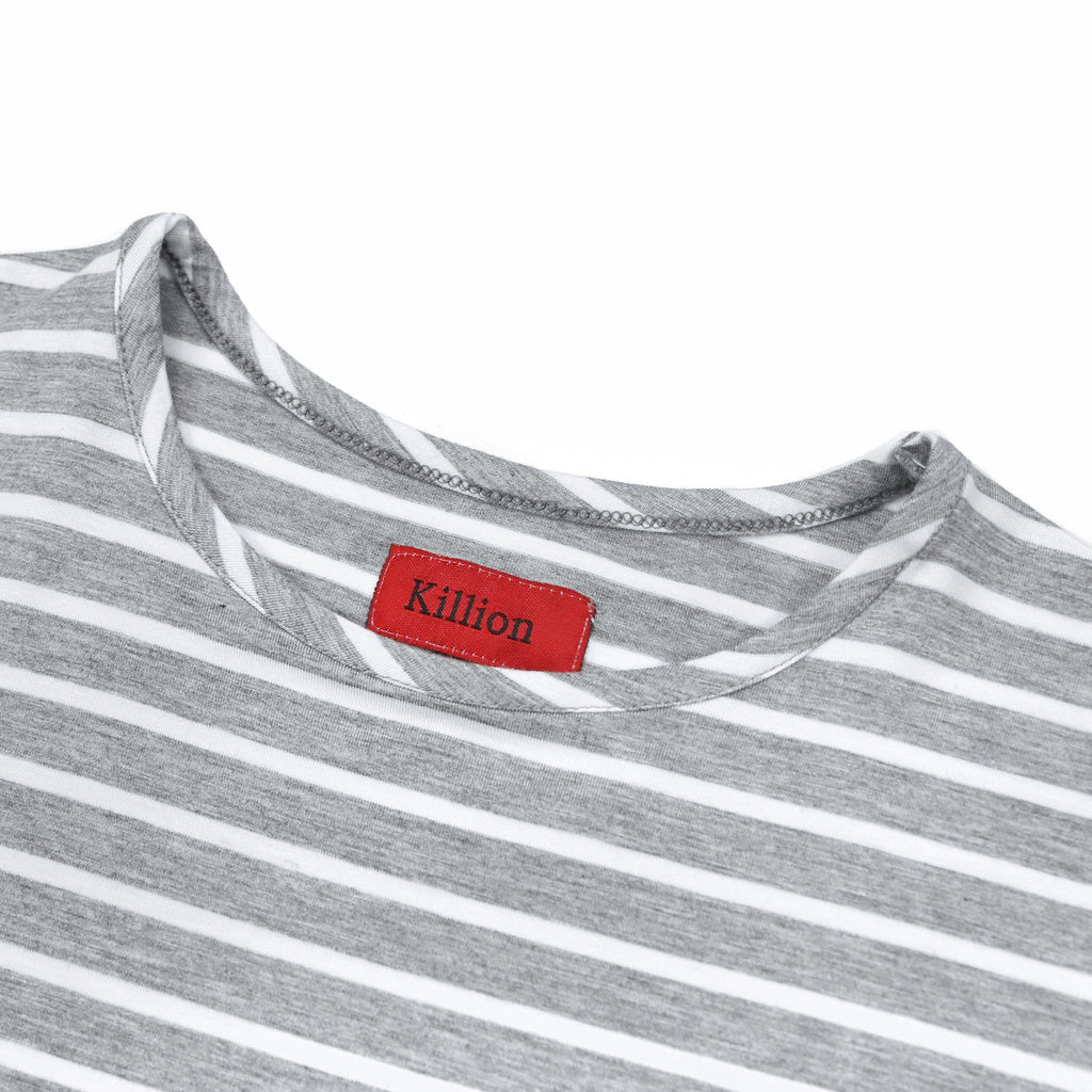 5mm Striped Scallop Shirt - Grey/White