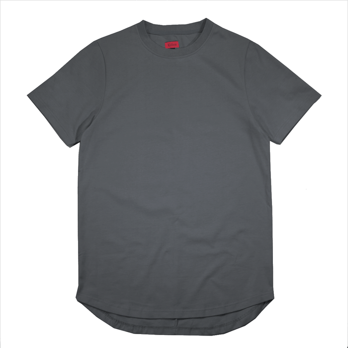 Premium Scallop Extended Tee - Slate