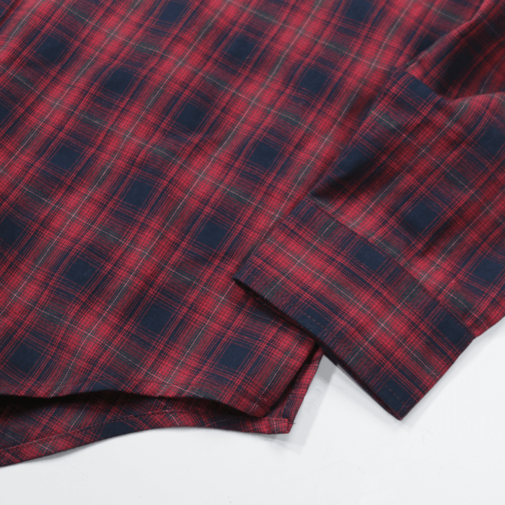 Cypress Flannel Button - Brick Red/Navy