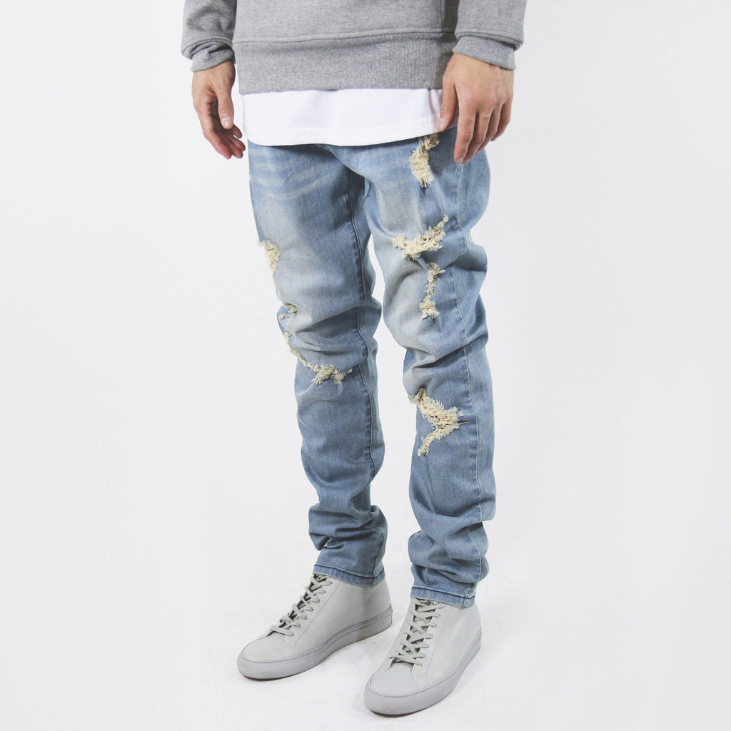Distressed Stonewashed Denim Jeans - Blue