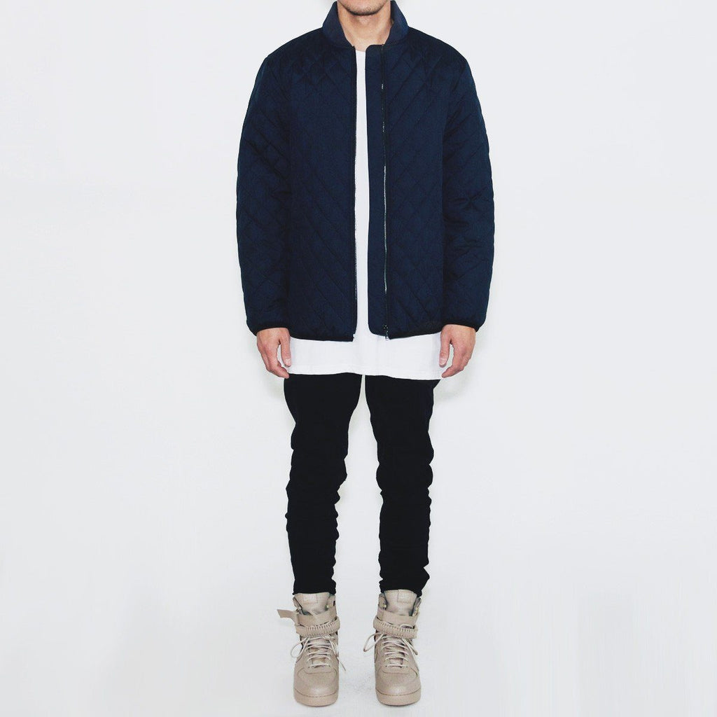 Quilted Coach Jacket - Navy