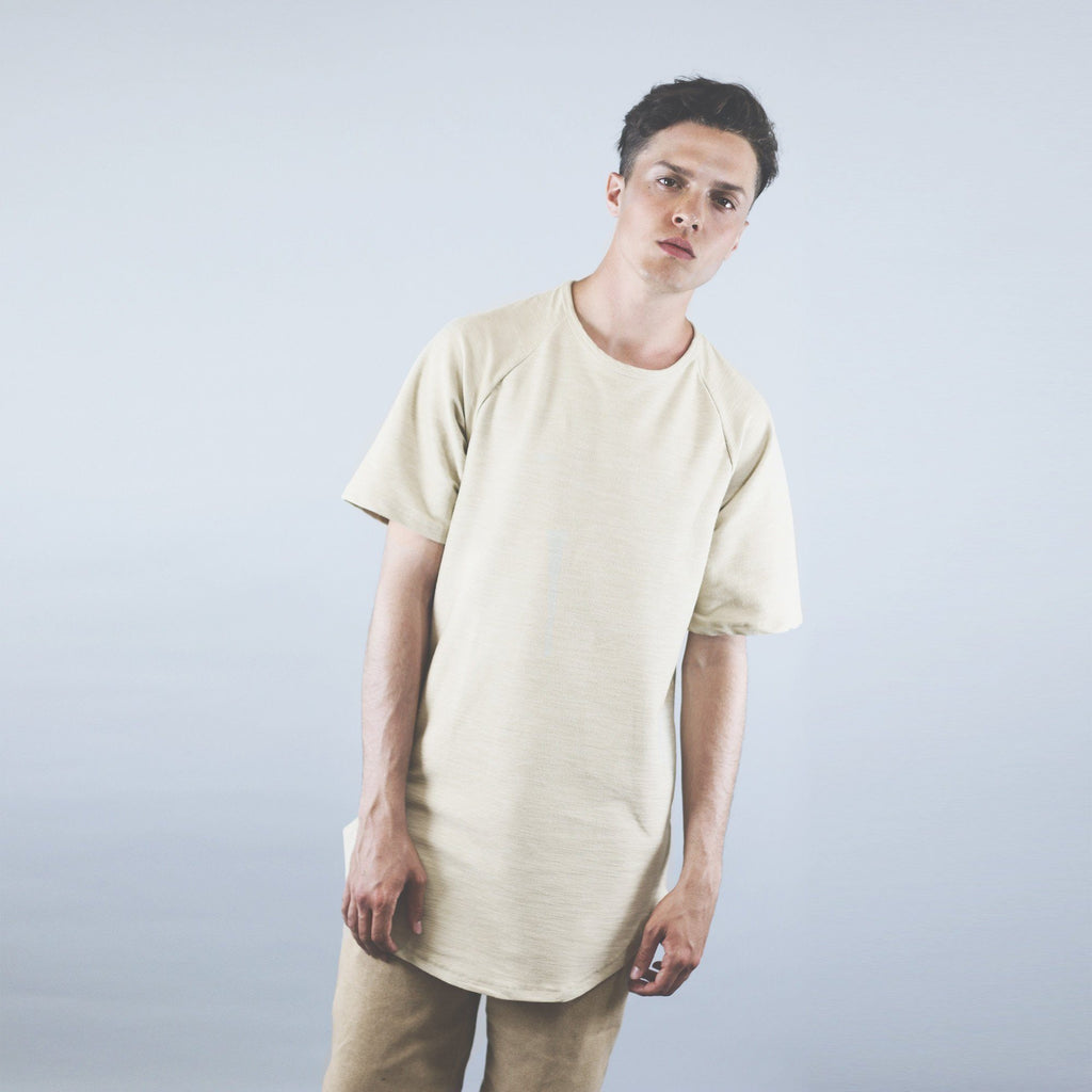 Brushed Melange Extended Scoop Shirt - Ivory
