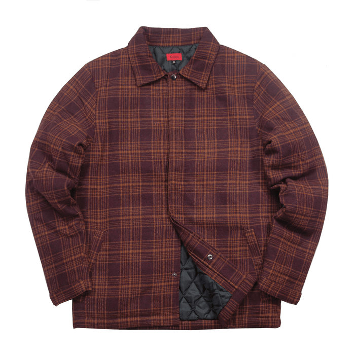 (01.22.20 Release) Kiver Flannel Jacket - Maroon/Tan Brown
