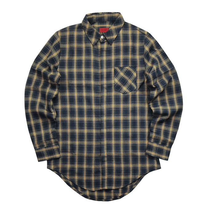 Dozer LS Buttonup - Navy/Light Brown