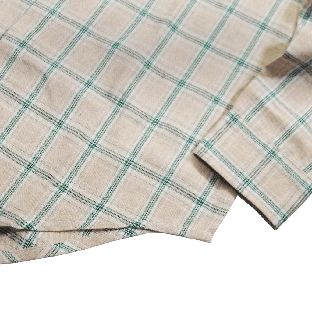 Prim Flannel LS Buttonup - Cream/Green