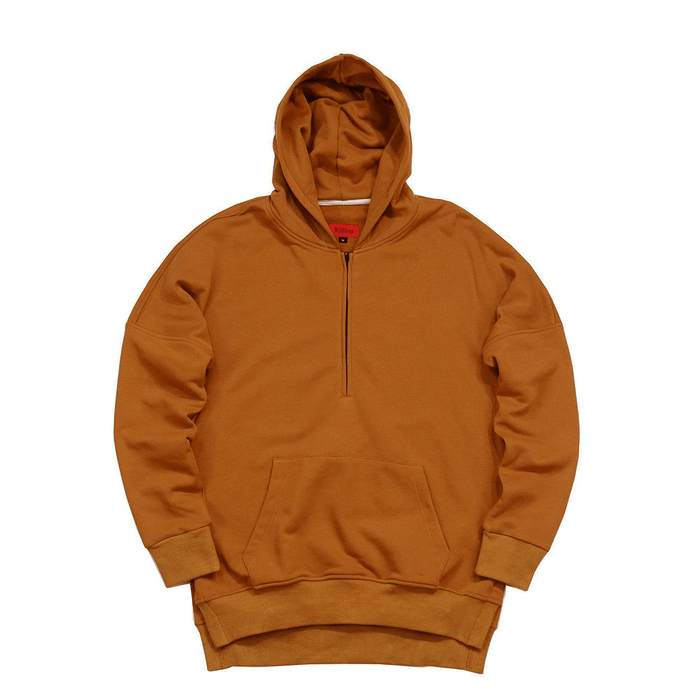 Side Cut Quarter Zip Hoodie - Tan Brown (01.19.21 Release)
