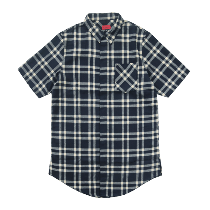 Essex Flannel S/S Button Up - Navy/Cream