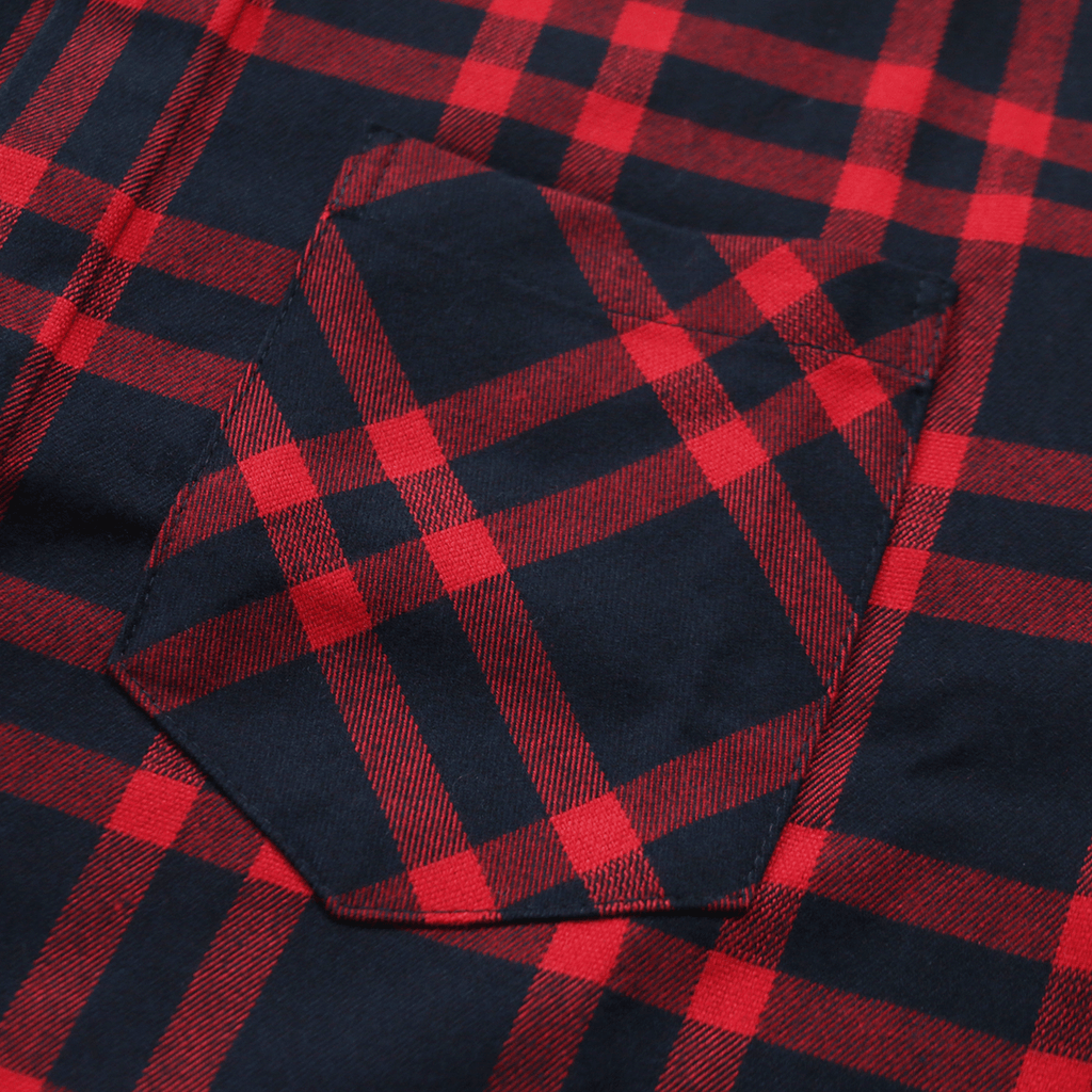 Essex Flannel S/S Button Up - Navy/Red