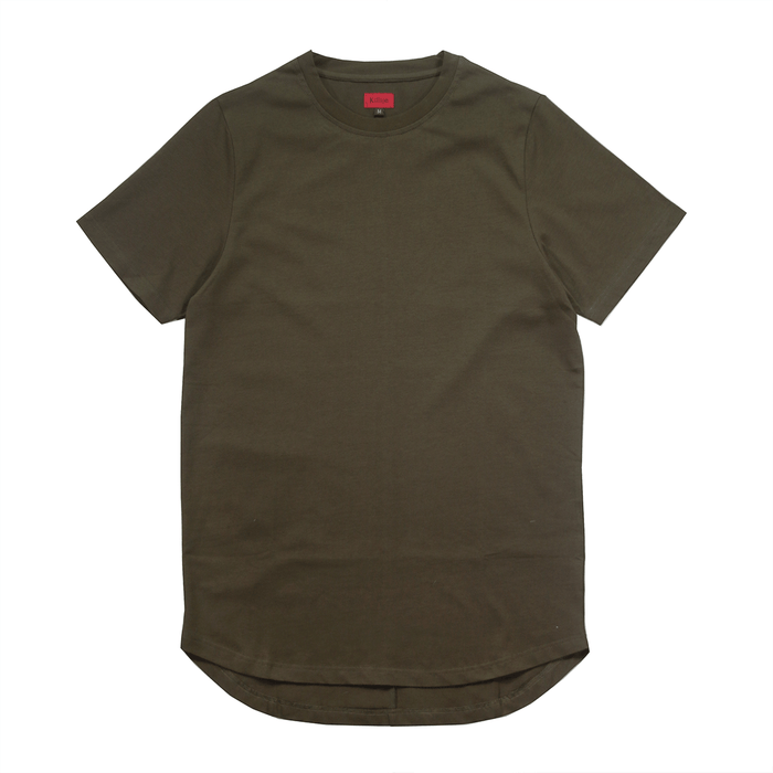 Premium Scallop Extended Tee - Dark Olive