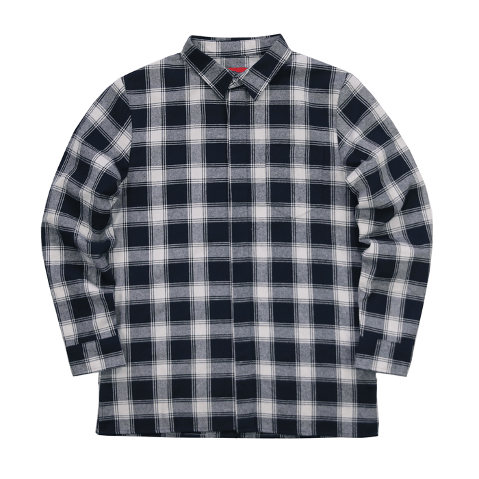 SI Flannel Flat-Hem Buttonup - Cream/Navy