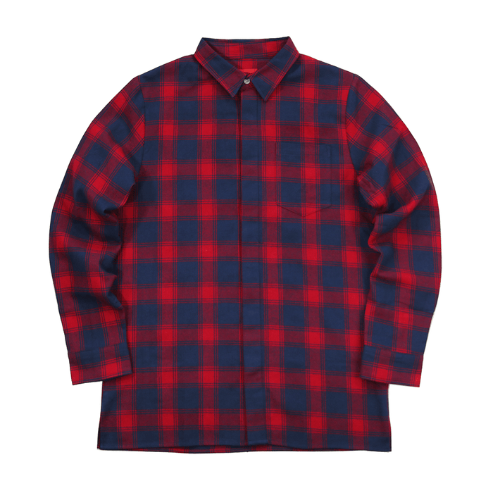 Figueroa Flannel Flat-Hem LS Buttonup - Red/Navy