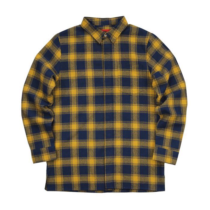 Figueroa Flannel Flat-Hem LS Buttonup - Yellow/Navy