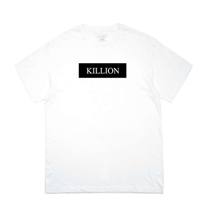 Black Block Logo Tee - White