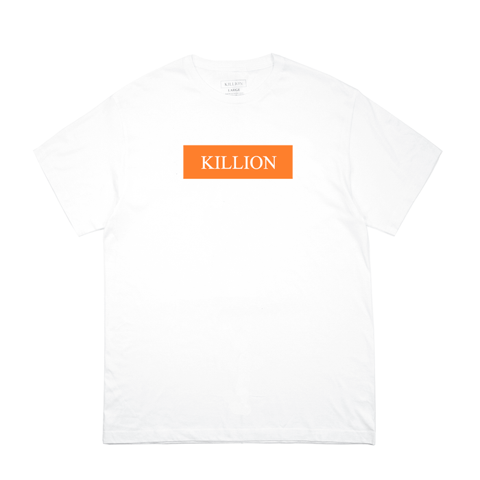 Orange Block Logo Tee - White