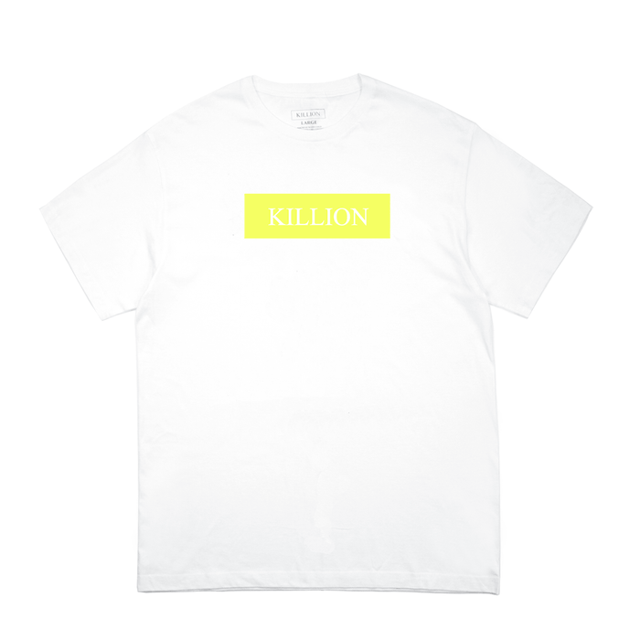 Yellow Block Logo Tee - White