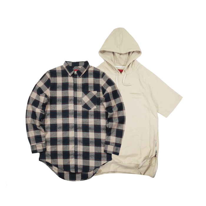 2-Pack Bristol Flannel Cream/Navy + Gramercy Hoodie in Cream