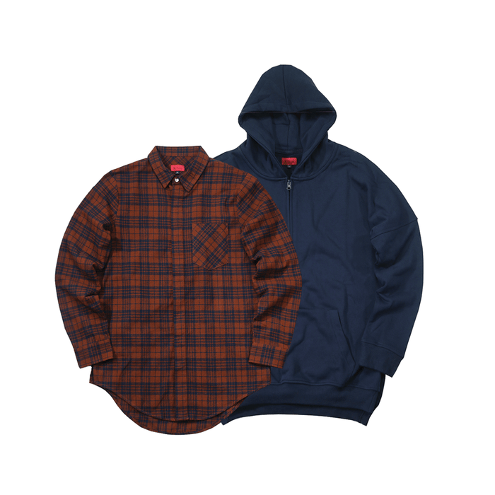 2-Pack Goodwin Flannel Brick/Navy + Side Cut Quarter Zip Hoodie in Navy