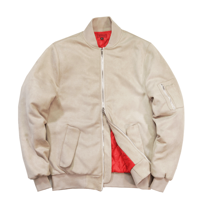 Suede MA-1 Bomber Jacket - Sand