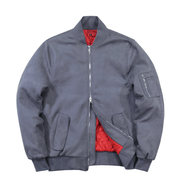 Suede MA-1 Bomber Jacket - Grey
