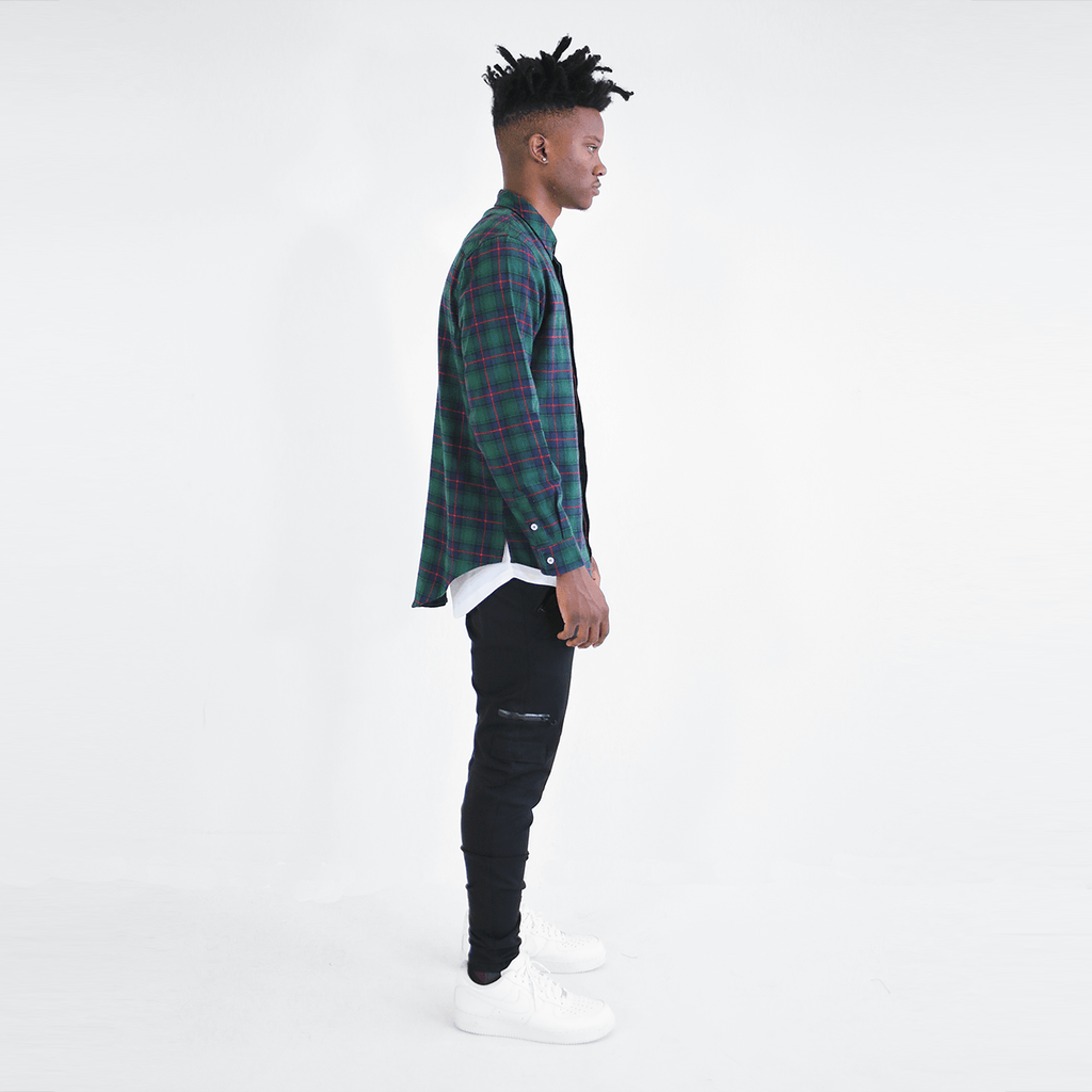 Gardena Flannel LS Buttonup - Navy/Green