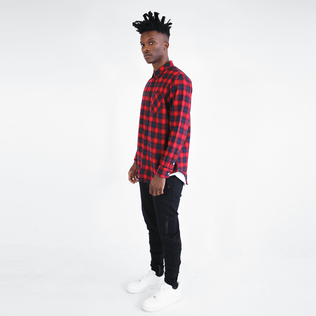 Gardena Flannel LS Buttonup - Navy/Red