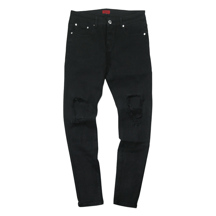 Destroyed Knee Rip Denim Jeans - Black