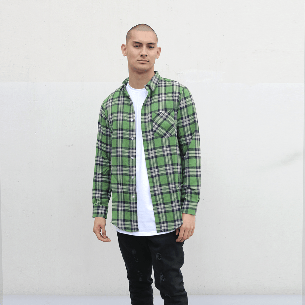 Loma Flannel LS Buttonup - Olive/White
