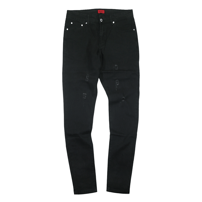 Slightly Distressed Denim Jeans - Black